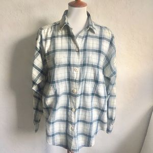 Patagonia Green and White Plaid Flannel Shirt S